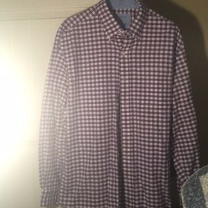 saddlebred purple and white checked button down.